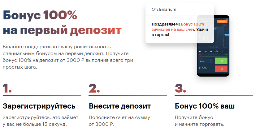 Бинариум бонус на депозит 100%